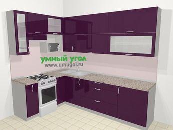 Угловая кухня МДФ глянец в современном стиле 7,2 м², 170 на 270 см, Баклажан, верхние модули 92 см, верхний модуль под свч, отдельно стоящая плита