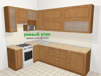 Угловая кухня МДФ патина в классическом стиле 7,2 м², 170 на 270 см, Ольха, верхние модули 92 см, верхний модуль под свч, отдельно стоящая плита