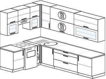 Угловая кухня 7,2 м² (1,7✕2,7 м), верхние модули 92 см, отдельно стоящая плита