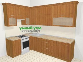 Угловая кухня МДФ матовый в классическом стиле 7,2 м², 170 на 270 см, Вишня, верхние модули 92 см, отдельно стоящая плита