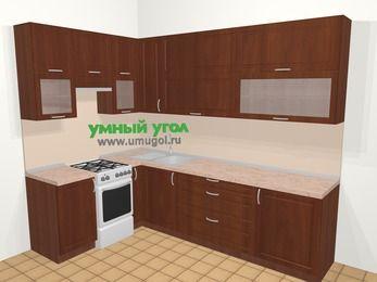 Угловая кухня МДФ матовый в классическом стиле 7,2 м², 170 на 270 см, Вишня темная, верхние модули 92 см, отдельно стоящая плита