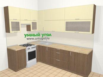 Угловая кухня МДФ матовый в современном стиле 7,2 м², 170 на 270 см, Ваниль / Лиственница бронзовая, верхние модули 92 см, отдельно стоящая плита