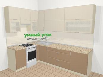 Угловая кухня МДФ матовый в современном стиле 7,2 м², 170 на 270 см, Керамик / Кофе, верхние модули 92 см, отдельно стоящая плита