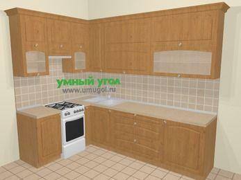 Угловая кухня МДФ матовый в стиле кантри 7,2 м², 170 на 270 см, Ольха, верхние модули 92 см, отдельно стоящая плита