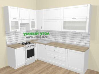 Угловая кухня МДФ матовый  в скандинавском стиле 7,2 м², 170 на 270 см, Белый, верхние модули 92 см, отдельно стоящая плита