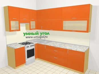 Угловая кухня МДФ металлик в современном стиле 7,2 м², 170 на 270 см, Оранжевый металлик, верхние модули 92 см, отдельно стоящая плита