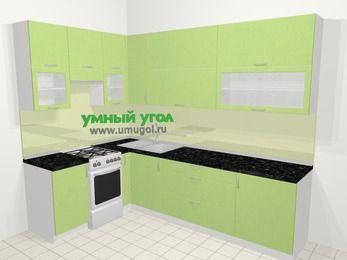 Угловая кухня МДФ металлик в современном стиле 7,2 м², 170 на 270 см, Салатовый металлик, верхние модули 92 см, отдельно стоящая плита