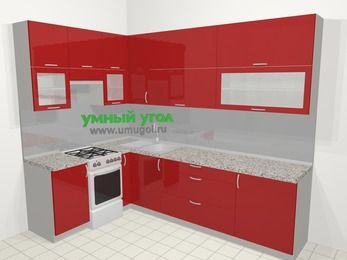 Угловая кухня МДФ глянец в современном стиле 7,2 м², 170 на 270 см, Красный, верхние модули 92 см, отдельно стоящая плита