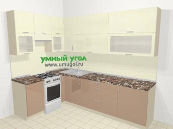 Угловая кухня МДФ глянец в современном стиле 7,2 м², 170 на 270 см, Жасмин / Капучино, верхние модули 92 см, отдельно стоящая плита