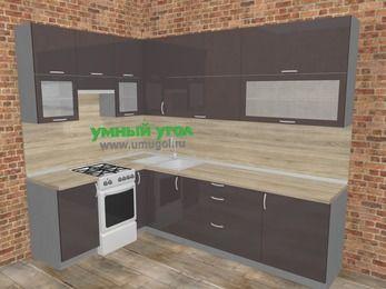 Угловая кухня МДФ глянец в стиле лофт 7,2 м², 170 на 270 см, Шоколад, верхние модули 92 см, отдельно стоящая плита