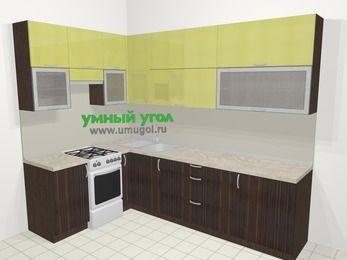 Кухни пластиковые угловые в современном стиле 7,2 м², 170 на 270 см, Желтый Галлион глянец / Дерево Мокка, верхние модули 92 см, отдельно стоящая плита