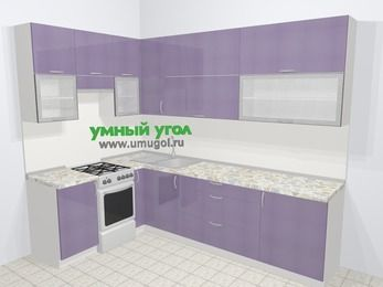 Кухни пластиковые угловые в современном стиле 7,2 м², 170 на 270 см, Сиреневый глянец, верхние модули 92 см, отдельно стоящая плита