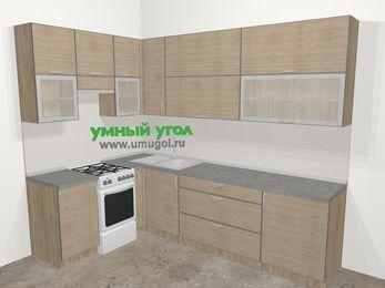 Кухни пластиковые угловые в стиле лофт 7,2 м², 170 на 270 см, Чибли бежевый, верхние модули 92 см, отдельно стоящая плита