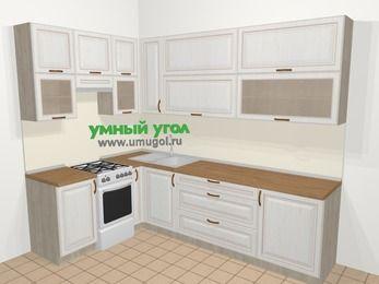 Угловая кухня МДФ патина в классическом стиле 7,2 м², 170 на 270 см, Лиственница белая, верхние модули 92 см, отдельно стоящая плита