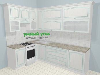 Угловая кухня МДФ патина в стиле прованс 7,2 м², 170 на 270 см, Лиственница белая, верхние модули 92 см, отдельно стоящая плита