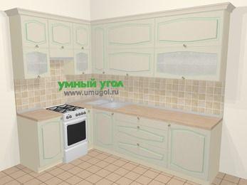Угловая кухня МДФ патина в стиле прованс 7,2 м², 170 на 270 см, Керамик, верхние модули 92 см, отдельно стоящая плита