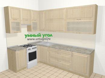 Угловая кухня из массива дерева в классическом стиле 7,2 м², 170 на 270 см, Светло-коричневые оттенки, верхние модули 92 см, отдельно стоящая плита