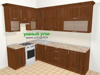 Угловая кухня из массива дерева в классическом стиле 7,2 м², 170 на 270 см, Темно-коричневые оттенки, верхние модули 92 см, отдельно стоящая плита