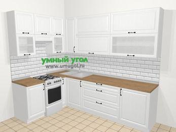 Угловая кухня из массива дерева в скандинавском стиле 7,2 м², 170 на 270 см, Белые оттенки, верхние модули 92 см, отдельно стоящая плита
