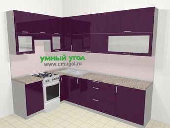 Угловая кухня МДФ глянец в современном стиле 7,2 м², 170 на 270 см, Баклажан, верхние модули 92 см, отдельно стоящая плита