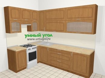 Угловая кухня МДФ патина в классическом стиле 7,2 м², 170 на 270 см, Ольха, верхние модули 92 см, отдельно стоящая плита