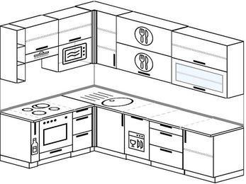 Угловая кухня 7,2 м² (1,7✕2,7 м), верхние модули 92 см, посудомоечная машина, верхний модуль под свч, встроенный духовой шкаф