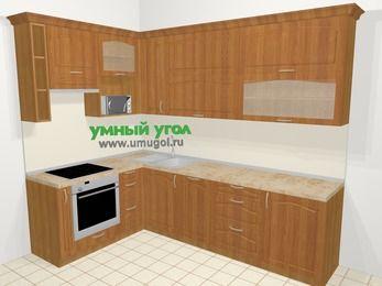 Угловая кухня МДФ матовый в классическом стиле 7,2 м², 170 на 270 см, Вишня, верхние модули 92 см, посудомоечная машина, верхний модуль под свч, встроенный духовой шкаф