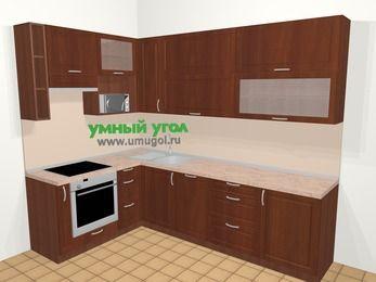 Угловая кухня МДФ матовый в классическом стиле 7,2 м², 170 на 270 см, Вишня темная, верхние модули 92 см, посудомоечная машина, верхний модуль под свч, встроенный духовой шкаф
