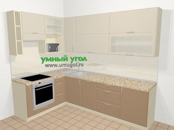 Угловая кухня МДФ матовый в современном стиле 7,2 м², 170 на 270 см, Керамик / Кофе, верхние модули 92 см, посудомоечная машина, верхний модуль под свч, встроенный духовой шкаф