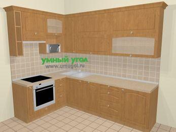 Угловая кухня МДФ матовый в стиле кантри 7,2 м², 170 на 270 см, Ольха, верхние модули 92 см, посудомоечная машина, верхний модуль под свч, встроенный духовой шкаф