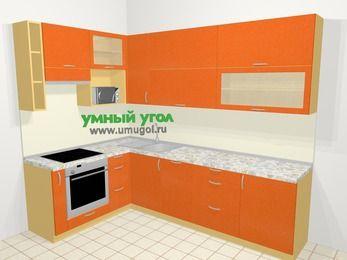 Угловая кухня МДФ металлик в современном стиле 7,2 м², 170 на 270 см, Оранжевый металлик, верхние модули 92 см, посудомоечная машина, верхний модуль под свч, встроенный духовой шкаф