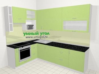 Угловая кухня МДФ металлик в современном стиле 7,2 м², 170 на 270 см, Салатовый металлик, верхние модули 92 см, посудомоечная машина, верхний модуль под свч, встроенный духовой шкаф