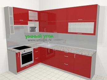 Угловая кухня МДФ глянец в современном стиле 7,2 м², 170 на 270 см, Красный, верхние модули 92 см, посудомоечная машина, верхний модуль под свч, встроенный духовой шкаф