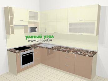 Угловая кухня МДФ глянец в современном стиле 7,2 м², 170 на 270 см, Жасмин / Капучино, верхние модули 92 см, посудомоечная машина, верхний модуль под свч, встроенный духовой шкаф