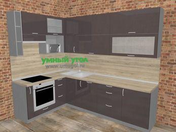 Угловая кухня МДФ глянец в стиле лофт 7,2 м², 170 на 270 см, Шоколад, верхние модули 92 см, посудомоечная машина, верхний модуль под свч, встроенный духовой шкаф