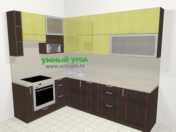 Кухни пластиковые угловые в современном стиле 7,2 м², 170 на 270 см, Желтый Галлион глянец / Дерево Мокка, верхние модули 92 см, посудомоечная машина, верхний модуль под свч, встроенный духовой шкаф