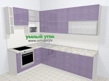 Кухни пластиковые угловые в современном стиле 7,2 м², 170 на 270 см, Сиреневый глянец, верхние модули 92 см, посудомоечная машина, верхний модуль под свч, встроенный духовой шкаф