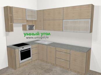 Кухни пластиковые угловые в стиле лофт 7,2 м², 170 на 270 см, Чибли бежевый, верхние модули 92 см, посудомоечная машина, верхний модуль под свч, встроенный духовой шкаф