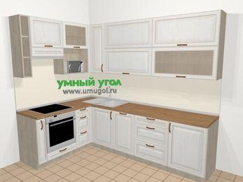 Угловая кухня МДФ патина в классическом стиле 7,2 м², 170 на 270 см, Лиственница белая, верхние модули 92 см, посудомоечная машина, верхний модуль под свч, встроенный духовой шкаф