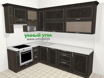 Угловая кухня МДФ патина в классическом стиле 7,2 м², 170 на 270 см, Венге, верхние модули 92 см, посудомоечная машина, верхний модуль под свч, встроенный духовой шкаф