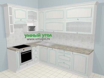 Угловая кухня МДФ патина в стиле прованс 7,2 м², 170 на 270 см, Лиственница белая, верхние модули 92 см, посудомоечная машина, верхний модуль под свч, встроенный духовой шкаф
