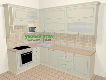 Угловая кухня МДФ патина в стиле прованс 7,2 м², 170 на 270 см, Керамик, верхние модули 92 см, посудомоечная машина, верхний модуль под свч, встроенный духовой шкаф