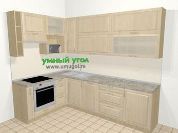 Угловая кухня из массива дерева в классическом стиле 7,2 м², 170 на 270 см, Светло-коричневые оттенки, верхние модули 92 см, посудомоечная машина, верхний модуль под свч, встроенный духовой шкаф