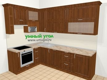 Угловая кухня из массива дерева в классическом стиле 7,2 м², 170 на 270 см, Темно-коричневые оттенки, верхние модули 92 см, посудомоечная машина, верхний модуль под свч, встроенный духовой шкаф