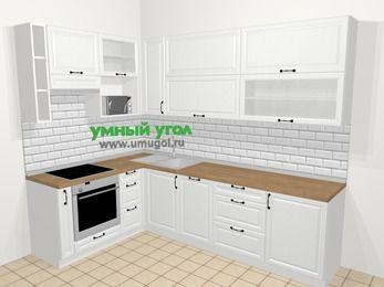 Угловая кухня из массива дерева в скандинавском стиле 7,2 м², 170 на 270 см, Белые оттенки, верхние модули 92 см, посудомоечная машина, верхний модуль под свч, встроенный духовой шкаф