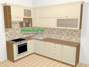 Угловая кухня из массива дерева в стиле кантри 7,2 м², 170 на 270 см, Бежевые оттенки, верхние модули 92 см, посудомоечная машина, верхний модуль под свч, встроенный духовой шкаф