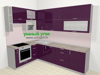 Угловая кухня МДФ глянец в современном стиле 7,2 м², 170 на 270 см, Баклажан, верхние модули 92 см, посудомоечная машина, верхний модуль под свч, встроенный духовой шкаф