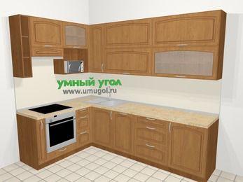 Угловая кухня МДФ патина в классическом стиле 7,2 м², 170 на 270 см, Ольха, верхние модули 92 см, посудомоечная машина, верхний модуль под свч, встроенный духовой шкаф