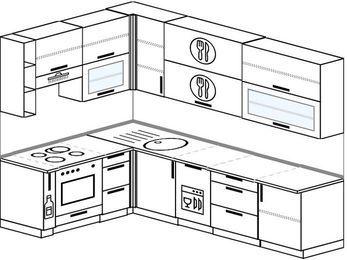 Угловая кухня 7,2 м² (1,7✕2,7 м), верхние модули 92 см, посудомоечная машина, встроенный духовой шкаф