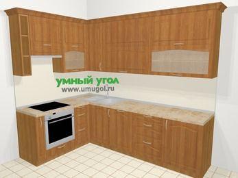Угловая кухня МДФ матовый в классическом стиле 7,2 м², 170 на 270 см, Вишня, верхние модули 92 см, посудомоечная машина, встроенный духовой шкаф